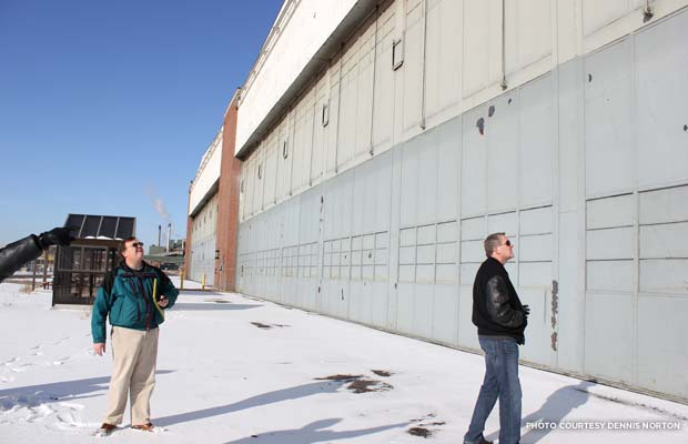 An exterior look of Willow Run Bomber Plant's looming hanger doors. Credit: Dennis Norton
