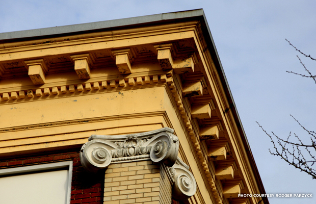 A closer look at the architectural characteristics of the buildings. Credit: Rodger Parzyck.
