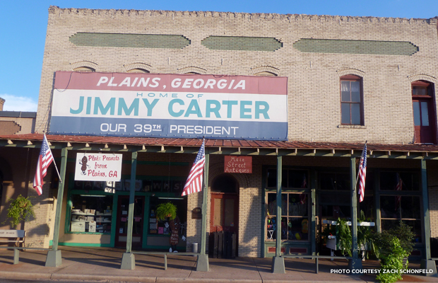 Plains, Georgia proudly proclaims itself the home of Jimmy Carter. Credit: Zach Schonfeld.