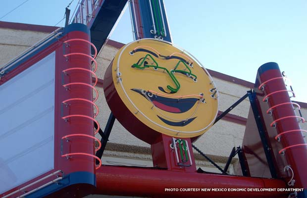 Luna Theater's winking moon marquee. Credit. New Mexico Economic Development Department