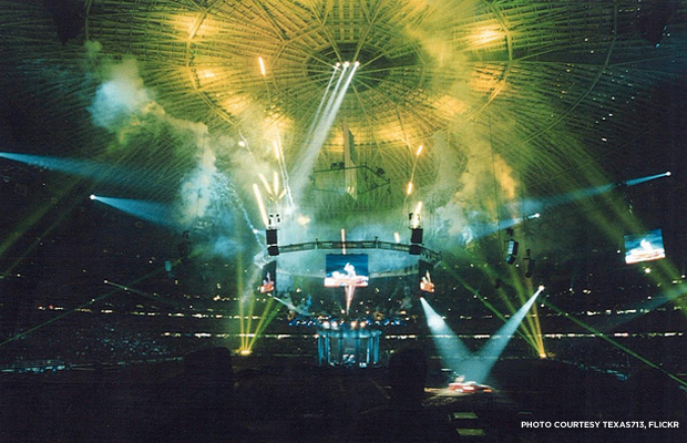 A spectacular show under the dome at the Houston Rodeo in 1999. Credit: Texas713, Flickr.