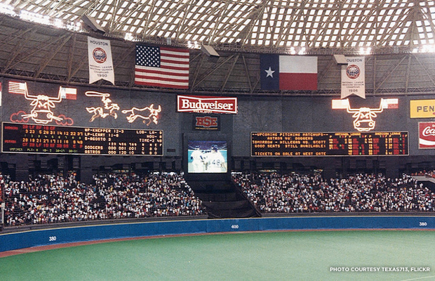 The Astrodome was the birthplace of the astroturf, the artificial grass now popular in sports arenas. Credit: Texas713, Flickr.