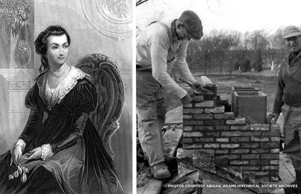 (left) A portrait of the 2nd First Lady of the United States. (right) This 1953 photo shows two workers creating the home's new chimney. Credit: Abigail Adams Historical Society Archives