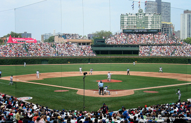 Historic Wrigley Field. Astute Cubs fans can gauge the point in the Major League season by the growth of ivy on the field's outfield walls. Credit: wallyg, Flickr.
