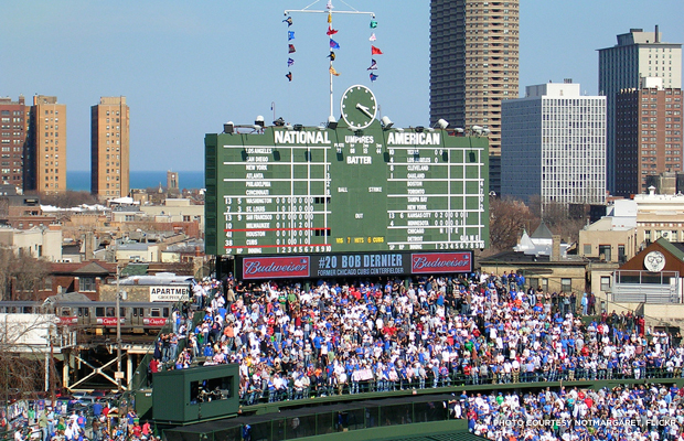 Wrigley's historic center field scoreboard will remain intact. Credit: notmargaret, Flickr.