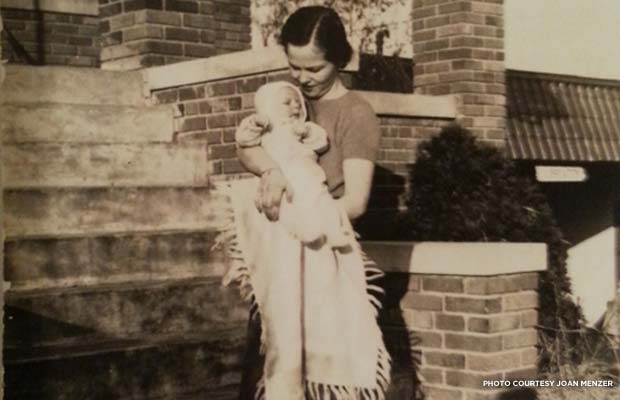 Joan's grandmother holds her son (Joan's father) on the steps of their D.C. home in 1939. Credit: Joan Menzer