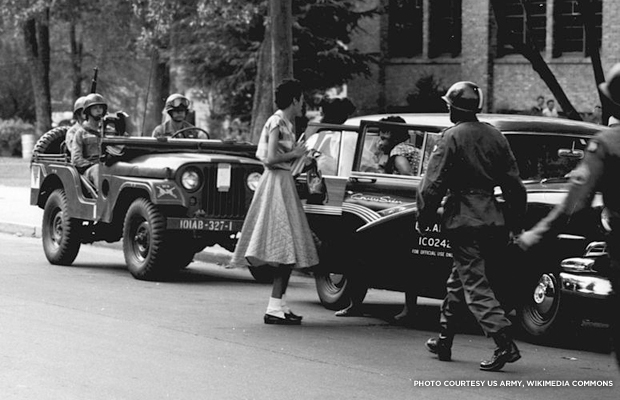 The Little Rock Nine. Credit: US Army, Wikimedia Commons.