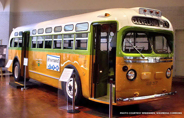 Rosa Parks, and the bus that started a movement. Credit: rmhermen, Wikimedia Commons.