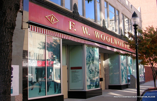 The Woolworth's Five & Dime in Greensboro, North Carolina, a sit-in site. Credit: rustytanton, Flickr.