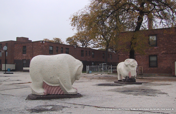 The sculptures of the Animal Court Playground in 2003 shortly after the Jane Addams Homes were closed to residential occupancy the previous year. Credit: National Public Housing Museum, Chicago, IL.