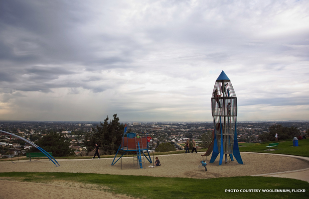 The Rocketship Park opens to a stunning vista of the city. Credit: Woolennium, Flickr.