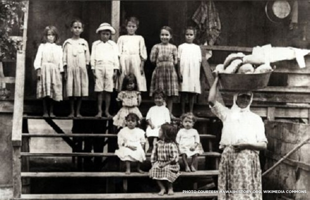 Portuguese immigrant families came to work at the Hawaiian sugar plantations. Credit: hawaiihistory.org