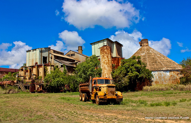 The now abandoned Koloa mill on Kaua'i. Credit: chuck55, Flickr.