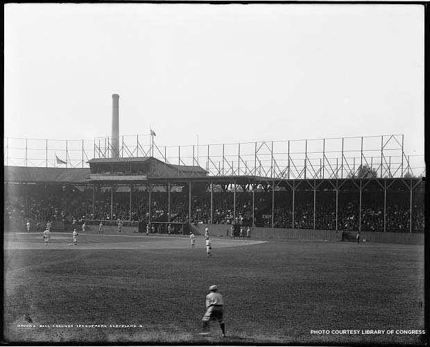 The ball grounds inside League Park in Cleveland, between 1900-1910. Credit: Library of Congress