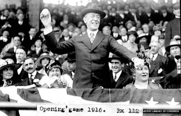 Woodrow Wilson throws out the first pitch on baseball's opening day in 1916. Credit: Library of Congress