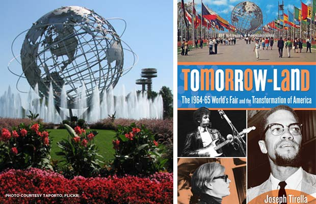 (l.) Unisphere from the 1964 World's Fair; (r.) Cover of Tomorrow-Land. Photos courtesy TAPorto, Flickr; Lyons Press.