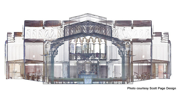 Maybeck's First Church of Christ, Scientist: Section/elevation through sanctuary (mid-point). Berkeley, Ca. (2013)