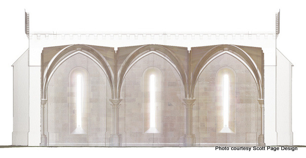 Reconstructed Chapter House: Section/Elevation. Vina, California. (2013)