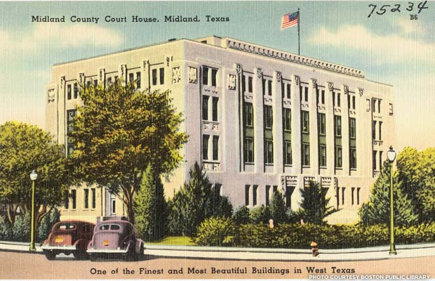 Midland County Courthouse postcard. Issued between 1930-1945. Credit: Boston Public Library, Flickr
