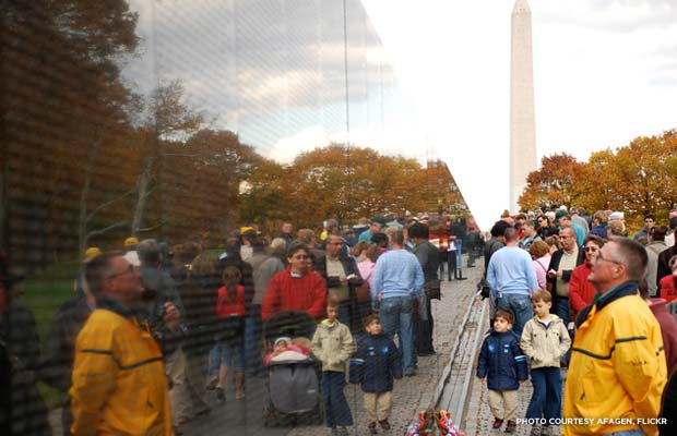 The Vietnam Veterans Memorial, Washington D.C. Credit: afagen, Flickr