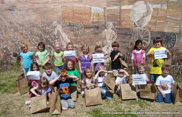 Kids participating in a Save America's Treasures program. Credit: National Trust for Historic Preservation