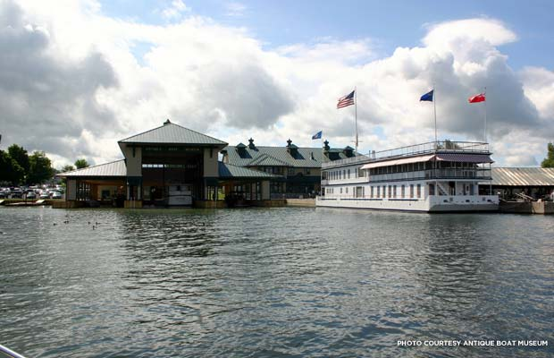 The Antique Boat Museum and La Duchesse, as seen from the St. Lawrence River. Credit: Antique Boat Museum