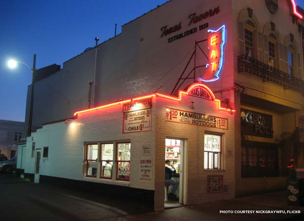 The Texas Tavern lighting up the late night streetscape of downtown Roanoke, Va. Credit: nickgraywfu, Flickr