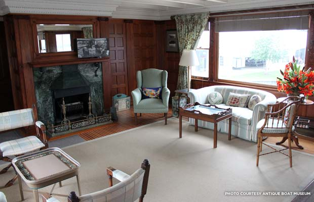 A look inside the lounge of La Duchesse. Credit: Antique Boat Museum
