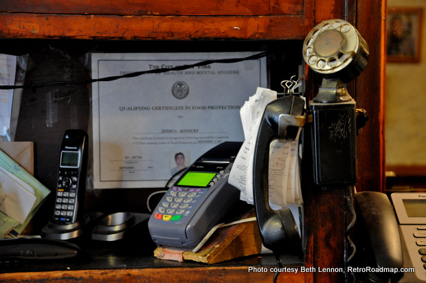 When paying your bill at the register, you may spy this still-operating vintage phone. Credit: Beth Lennon, RetroRoadmap.org