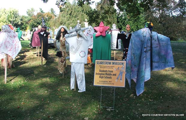 Lyndhurst's Scarecrow Invasion at Halloween. Credit: Krystyn Silver
