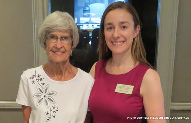 Betty Kessler (left), a descendant of See and the donor of the diary, with Erin Carlson Mast, executive director of President Lincoln's Cottage. Credit: President Lincoln's Cottage