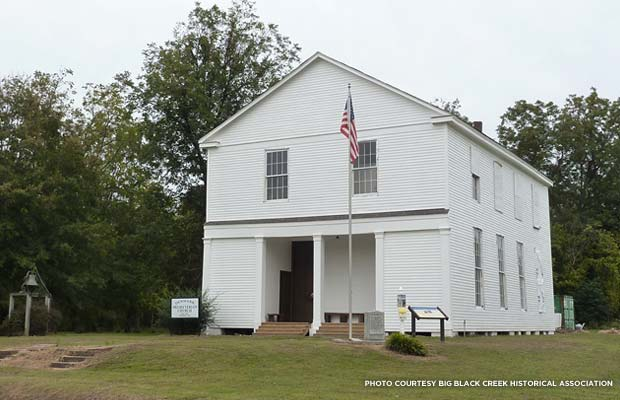 The exterior of the church after restoration was completed. Credit: Big Black Creek Historical Association