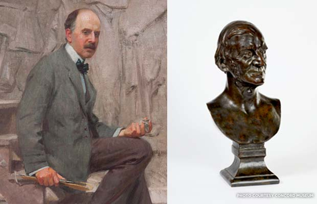 "Daniel Chester French was born in 1850 and was hailed as the ""Dean of American Sculpture"" during his lifetime. One of his first works was a bust of prominent Concord intellectual Ralph Waldo Emerson, cast here in bronze. (He also completed plaster and marble casts.) Credit: Concord Museum"