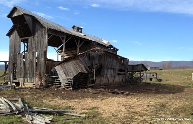 The barn after the derecho, and before the hand-hewn logs were removed. Credit: Sue Miles
