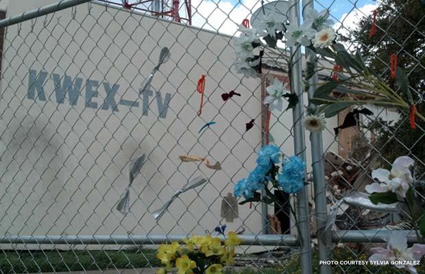 Demolition of the Univision building continued last week to make way for a $55 million, 350-unit housing development. Credit: Sylvia Gonzalez