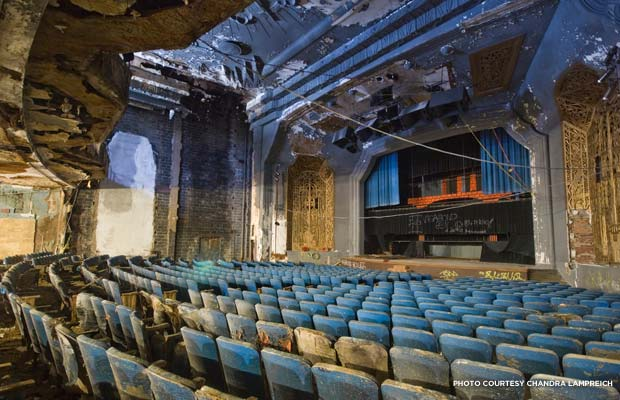The dilapidated state of the Uptown Theater's auditorium in August 2013. Credit: Chandra Lampreich