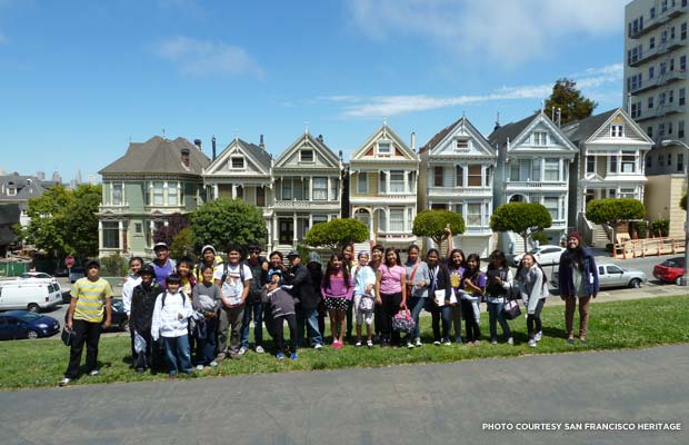 "The first Discover SF! students in front of the ""Painted Ladies"" at San Francisco's Alamo Square. Credit: San Francisco Heritage"