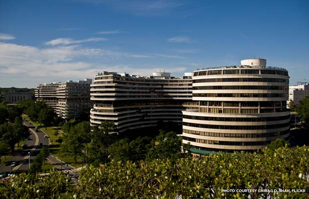 The mixed-use Watergate Complex has five buildings, all of which are on the National Register. Credit: Chirag D. Shah, Flickr