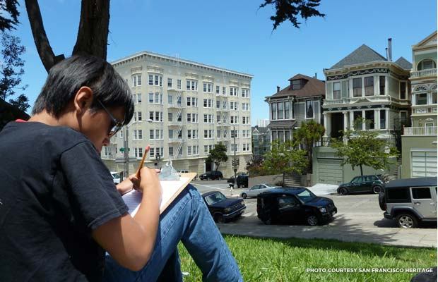 "The students learned how to conduct architectural surveys by studying San Francisco's famous ""Painted Ladies."" Credit: San Francisco Heritage"