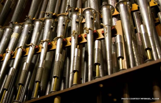 The pipes of the Methuen Music Hall Grand Organ. Credit: MFRingel, Flickr