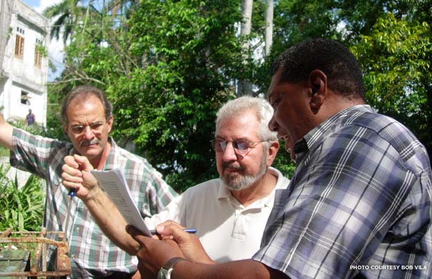Bob Vila (center) at work on Finca Vigia, Ernest Hemingway's home in Havana, Cuba. Credit: Bob Vila