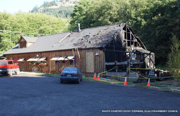 A July 19 fire, the result of alleged arson, badly damaged about a third of the historic building. Credit: Patsy Stephens, Olga Strawberry Council