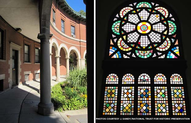 The architecture of Pullman delights visitors at every turn, from the colonnaded apartment buildings surrounding Market Hall (left) to the stained glass windows in the Greenstone Church (right).