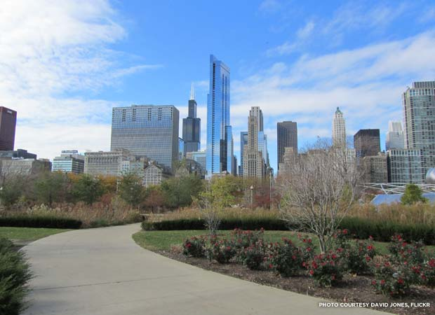 Millennium Park in Chicago, with the Willis and Legacy Towers beyond. Credit: David Jones, Flickr