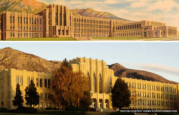 Ogden High School's Art Deco design has been an icon in the community since the 1930s. Credit: Ogden School Foundation