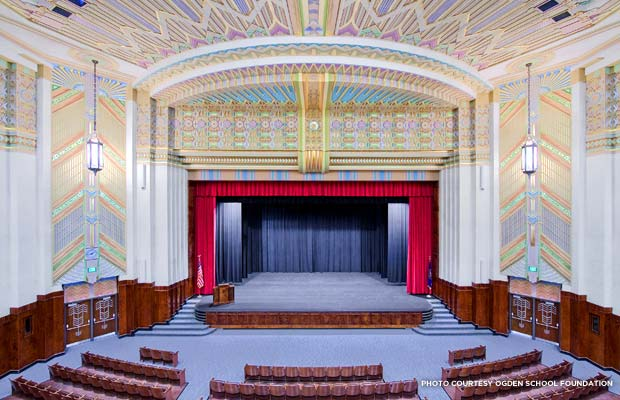 The auditorium with its intricately painted ceiling is the crown jewel of Ogden High. Credit: Ogden School Foundation