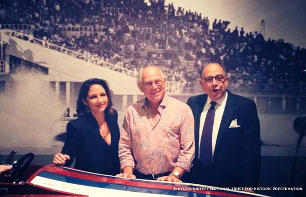 Gloria Estefan, Jimmy Buffett, Hilario Candela at Coral Gables exhibit. Credit: National Trust for Historic Preservation