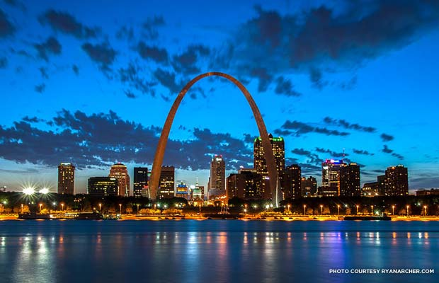 St. Louis skyline at night. Credit: ryanarcher.com