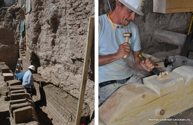(l.) Restoration began well below the surface of the mission; (r.) A craftsman carves a new Zapata. Credit: Crocker Ltd.