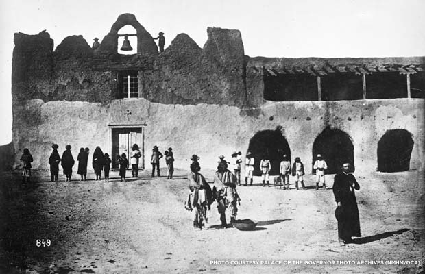 Earliest known photo of St. Augustine Mission, c. 1867. Credit: Bell, William A., courtesy Palace of the Governors Photo Archives (NMHM/DCA), negative 012321
